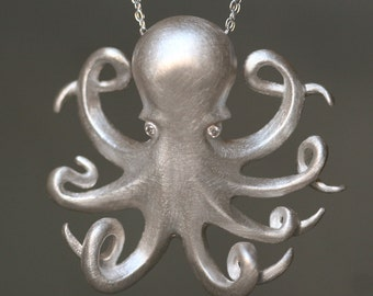 Long Octopus Necklace in Sterling Silver with Diamonds