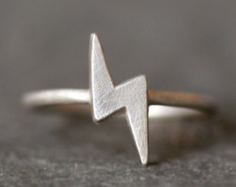 Lightening Bolt Ring in Sterling Silver
