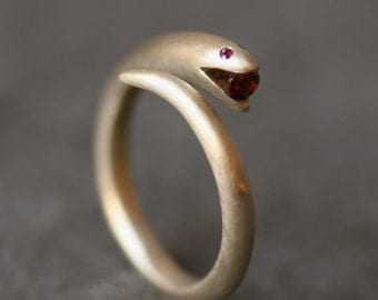 Small Open Mouth Snake Ring in Brass with Ruby and Garnet
