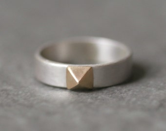Banded Low Pyramid Ring in 14K Gold and Sterling Silver