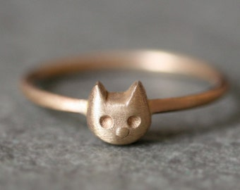 Baby Kitten Ring in 14k Gold
