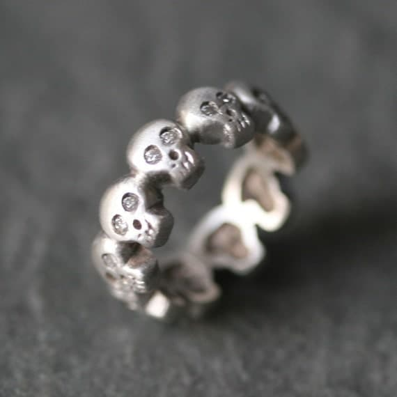 Baby Skull Eternity Band Ring in Sterling Silver with Diamonds UNISEX