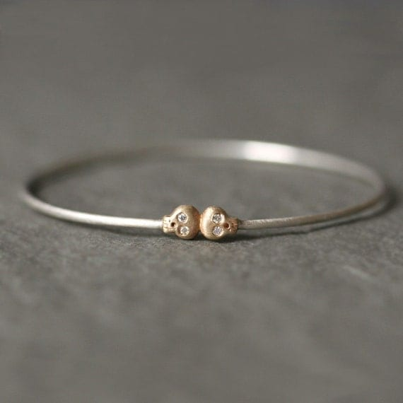 Baby Skull Bangle with Diamonds in 14K Gold and Sterling Silver