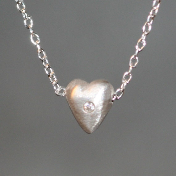 Tiny Puffy Heart Necklace in Sterling Silver with Diamond