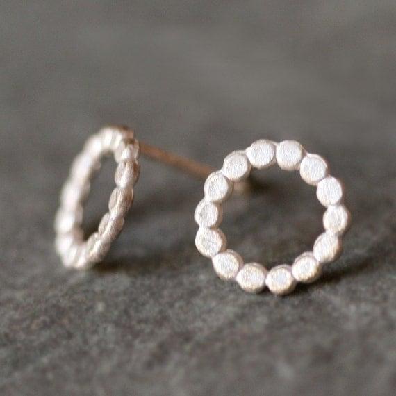 Flat Circle Stud Earrings in Sterling Silver