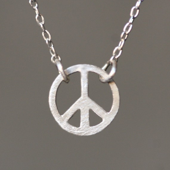 Tiny Round Peace Sign Necklace in Sterling Silver