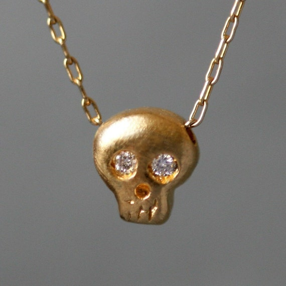 Baby Skull Necklace in Gold Vermeil with Diamonds