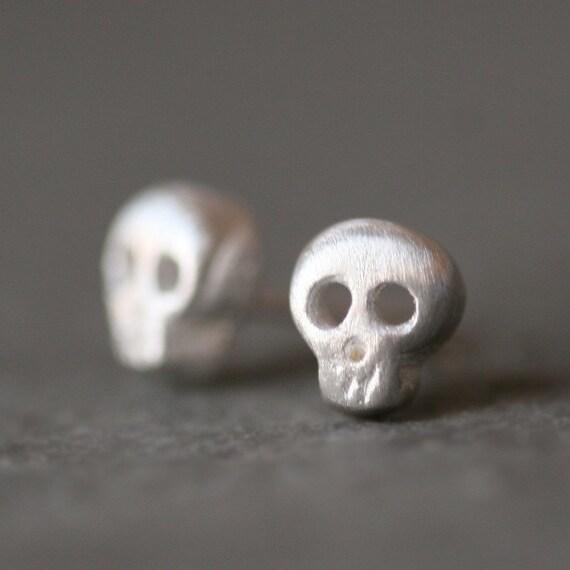 Baby Skull Earrings in Sterling Silver