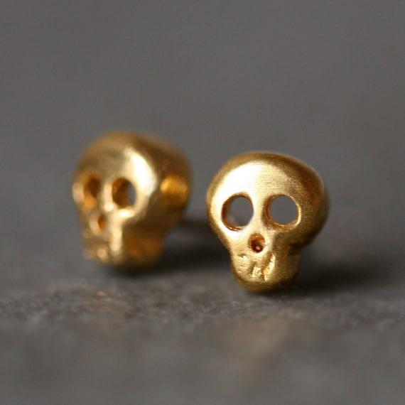 Baby Skull Stud Earrings in Gold Vermeil
