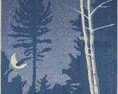 Night Sky, Canada Lakes - Original Woodblock Print