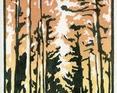 A walk with Henry - Original Woodblock Print