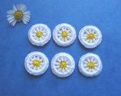 Dorset Buttons  Dorset Button Daisy Buttons Handmade - Dorset Cross Wheel Buttons - Yellow and White - Set of 6