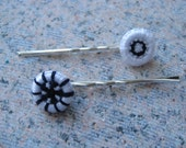 Dorset Buttons  Button Hair Clips - Dark Blue and White - dorset buttons Handmade