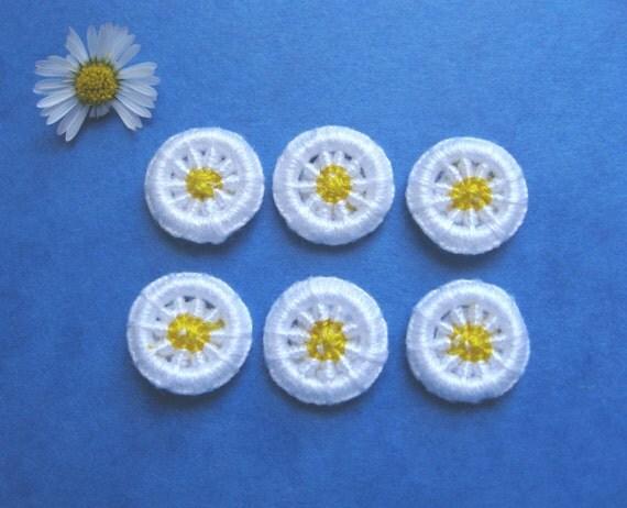 Dorset Buttons  Dorset Button Daisy Buttons Handmade - Dorset Cross Wheel Buttons - Yellow and White - Set of 6