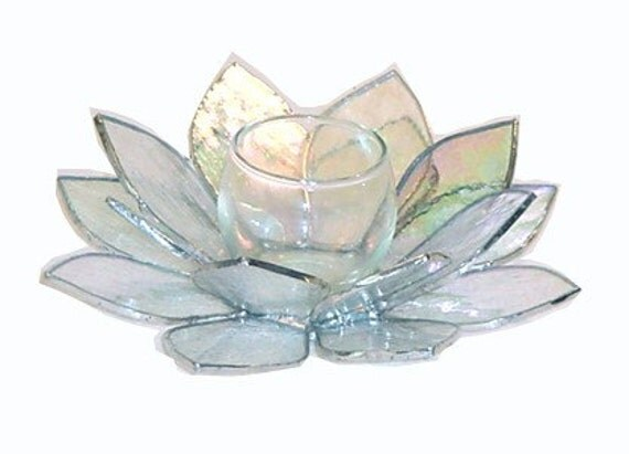 Lotus blossom glass candle holder
