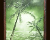 Green Palms -  original oil painting with hand made frame - Reserved for Nadine