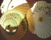 Three Vintage Parasols - Hand Painted Chinese Paper and Bamboo