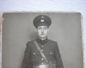 Antique Photo Postcard - 1939 Italian Soldier Black and White Portrait