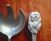 Serving Utensils. Vintage Cast Metal Monkeys or Lions. Odd, Unusual Vintage Serving Spoon and Fork with Animal Handles. Large Ladle Scoop.