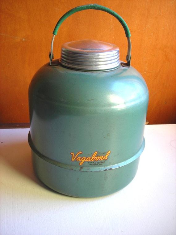 Vintage Camping Thermos Vagabond Metal Cooler