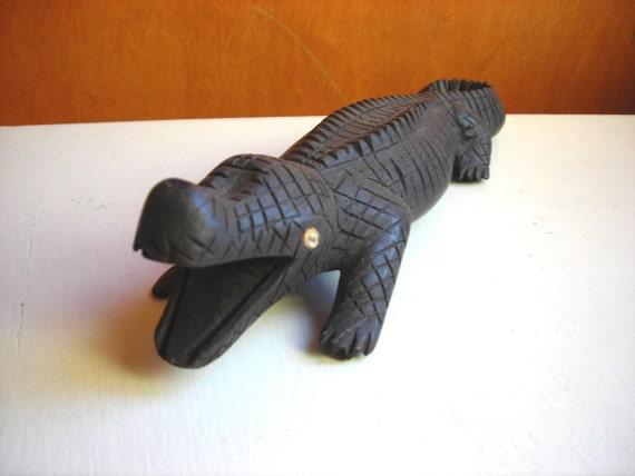 Carved Wood Ebony Crocodile : Antique African Ironwood Animal Carving