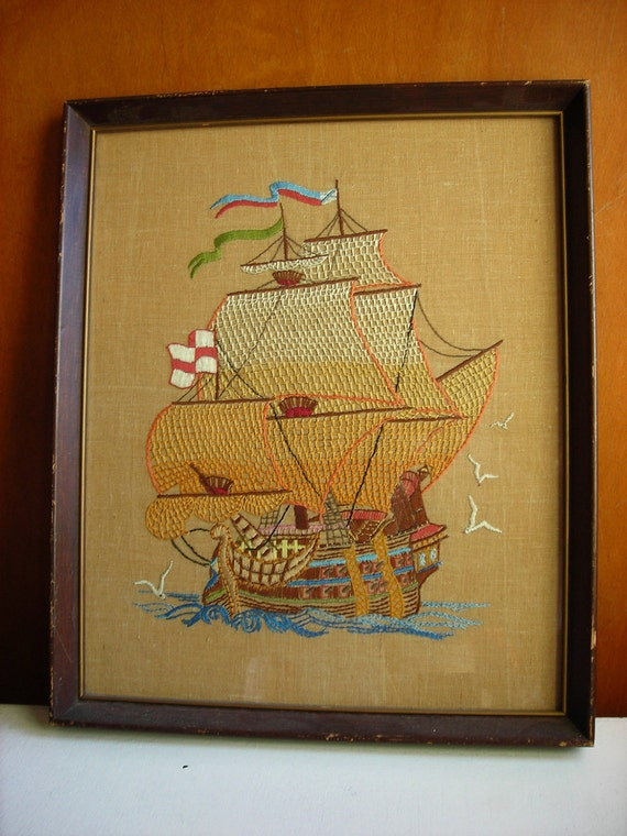 Framed Vintage Embroidery Wall Hanging : Sailing Ship Nautical Decor