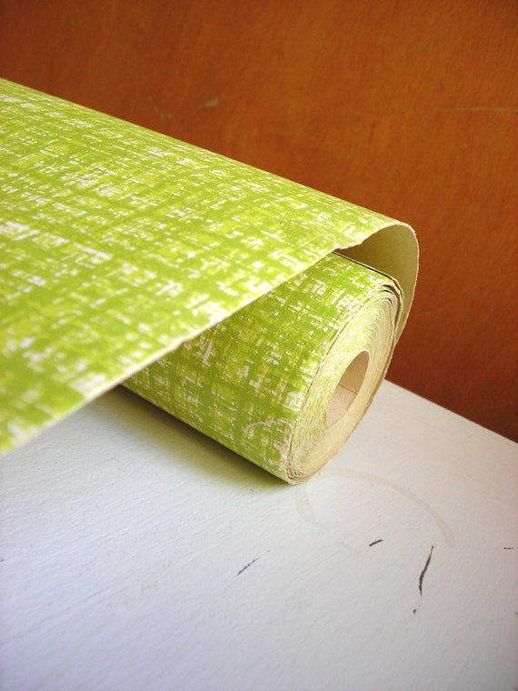 Vintage Wallpaper Roll - Screen Printed, Bright Green Plaid Wall Paper for Kitchen or Craft Supplies