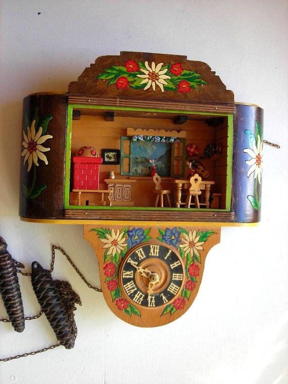 Vintage German Clock Diorama Music Box Edelweiss