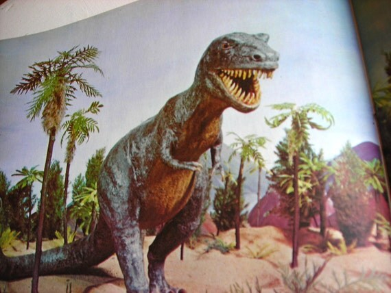 Vintage Science Book - Children's Book, Natural History with Dinosaur Models