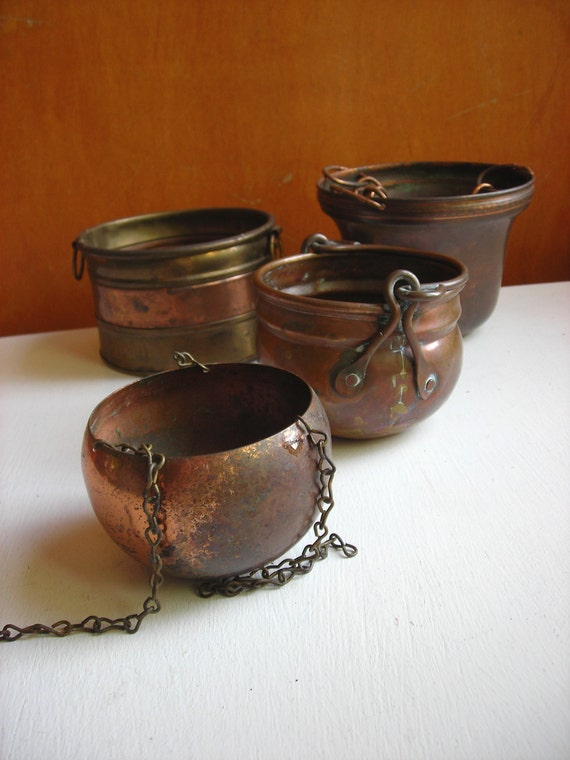Vintage Copper Planter Collection - Small Hanging