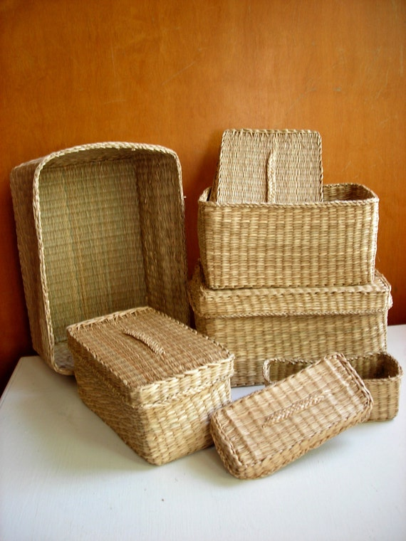 Vintage Nesting Baskets - Sweetgrass Rectangular with Lids