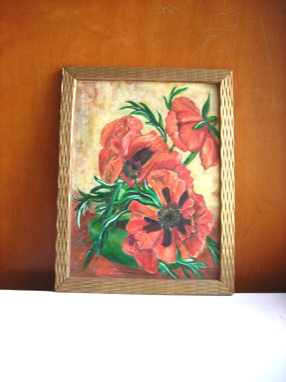 RESERVED Original Painting of Poppies in Vintage Gold Wood Frame