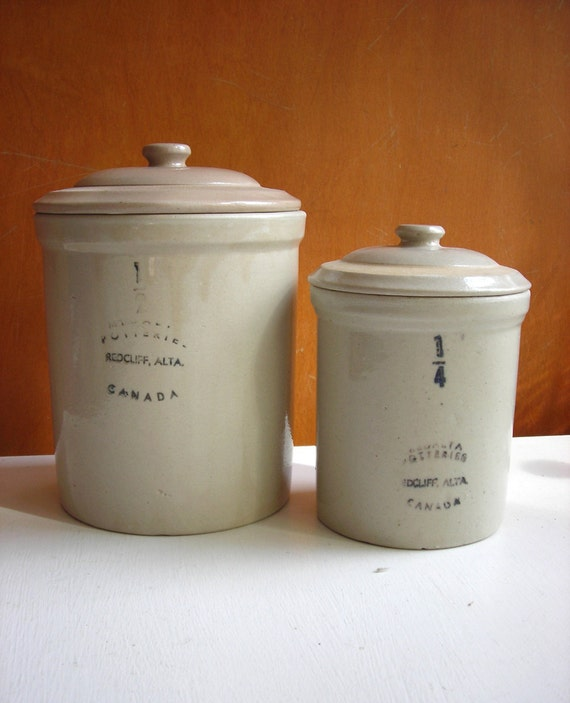 Stoneware Crocks with Lids : Medalta Pottery 1940s