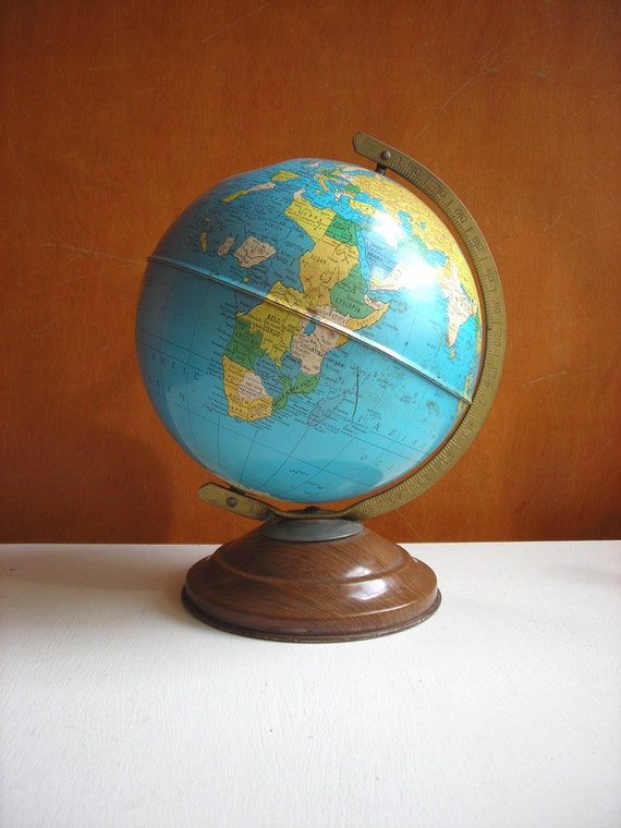 1945 Vintage Metal Globe : Replogle Faux Bois 8 inch Industrial Decor