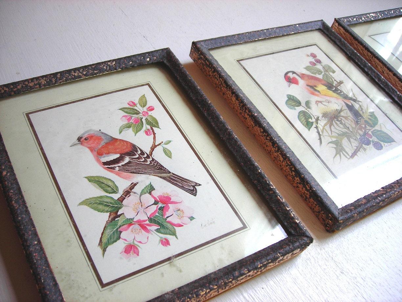 Vintage Bird Prints Tiny Framed Art