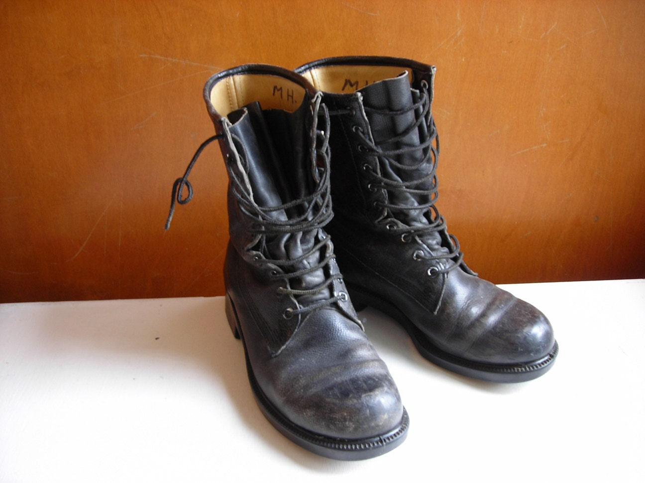 Vintage Combat Boots : Black Leather Army Boots Men 6 Women 8