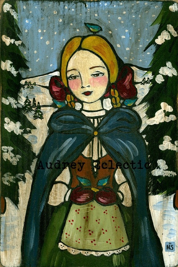 PRINT The Bird Guardian Christmas winter folk art