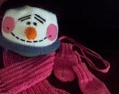 Pattern for Snowman Hat / Scarf / Thumbless Mittens / Instant Download / baby / newborn hat