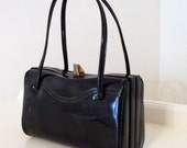 Vintage Black Faux Patent Leather Handbag
