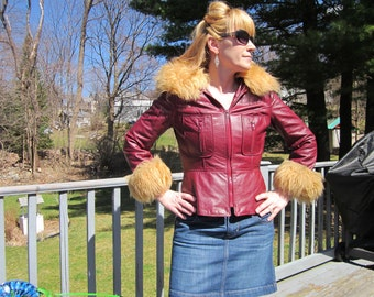 Vintage Rare Wilsons Burgundy Disco Leather Jacket Super Cool Size Small