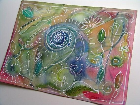 Botanical Series  -- ORIGINAL Mixed Media Painting -- SALE