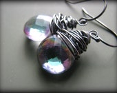 For Sharri - Peacock  Mystic Rainbow Topaz Earrings - Oxidized Sterling Silver Earrings - Gift Birthday Christmas Anniverary Sister Mother