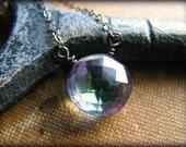 Blue Mystic Topaz Oxidized Necklace - Petite Small Pendant - Gemstone December Birthstone Gift Birthday Best Friend Girlfriend