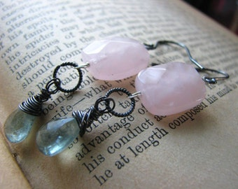 REDUCED PRICE..Moss Green Blue Aquamarines and Pink Rose Quartz EARRINGS, Dangle, Gemstones March Birthstones