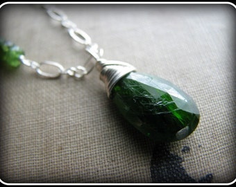 Chrome Diopside Necklace Emerald Green Dark Forest - Gift Birthday Retirement Thank you Mothers Day Mom Sister Best Friend Wife