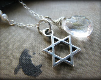 Star of David Necklace, Sterling Silver, Mystic Rainbow AB Quartz , Pearls