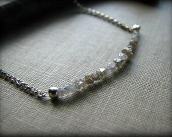 DIAMOND CHIPS NECKLACE Strand Row Sterling Silver White Gray Grey Gemstones Gem April Birthstone Gift Mom Mother Wife Fiancee Girlfriend