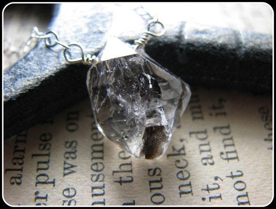 Herkimer - Like Diamond Quartz Necklace Organic shape Large Gemstone Semi Precious, Sterling Silver, April Birthstone