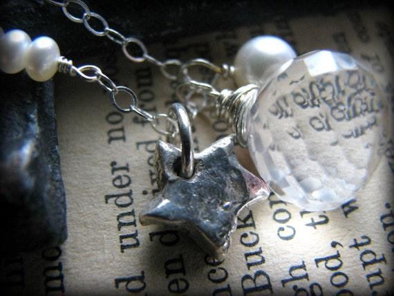 Moon and the Stars Necklace, Quartz Gemstone Sterling Silver Pearl, Gift Birthday Anniversary Birthday Graduation