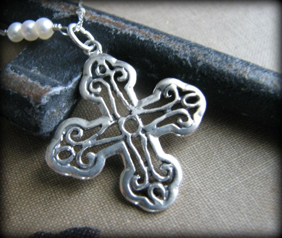Crusader Cross Silver Necklace,  Fancy Medieval Style Cross Pendant Pearls, Christmas Gift Ideas for Mother Wife Girlfriend BFF Irish